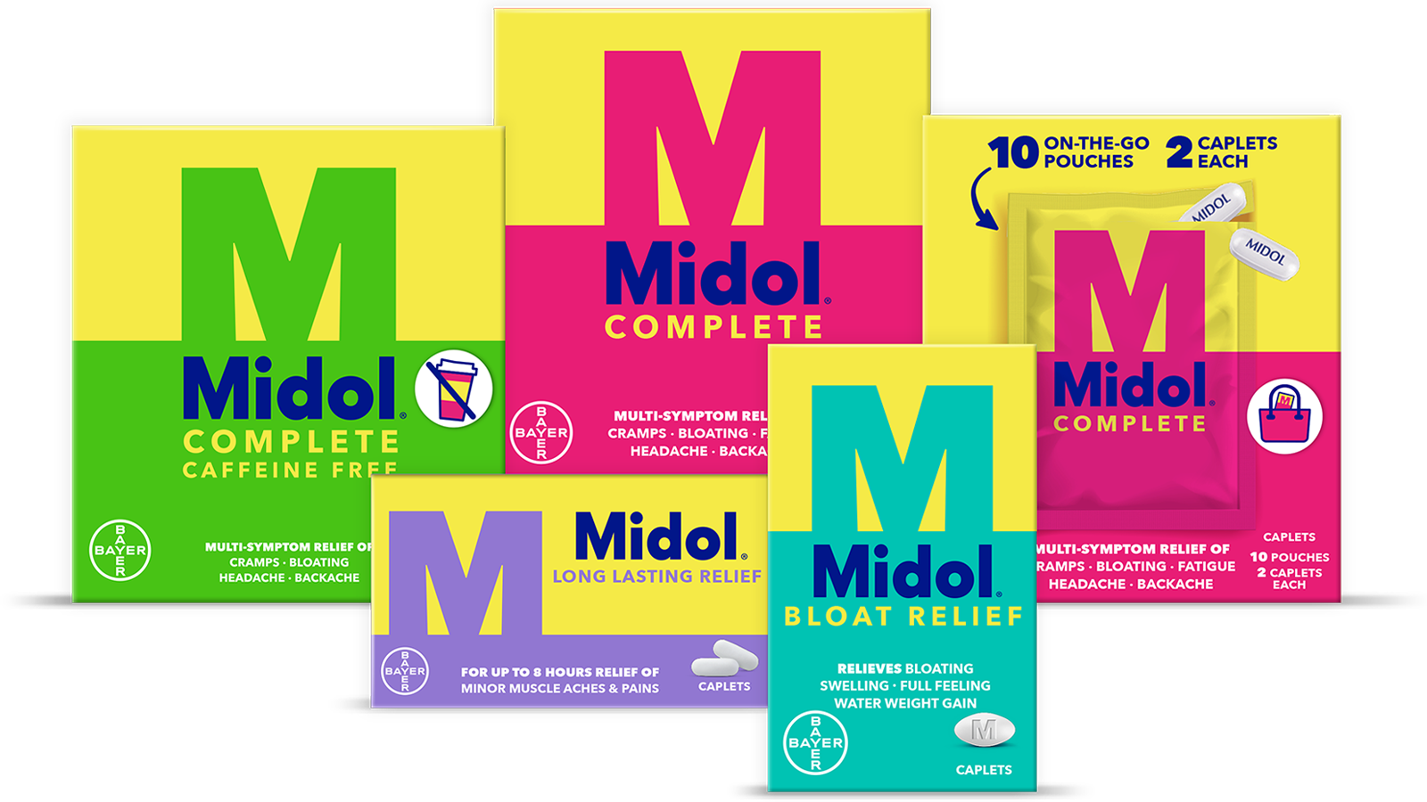 Four boxes of Midol® Complete, Midol® Complete Caffeine Free, Midol® Complete On-The-Go and Midol® Long Lasting Relief medicine